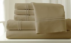 Amrapur Overseas 6-pc 1000TC Cotton Sheet Set - Oxford/Taupe - Size: King