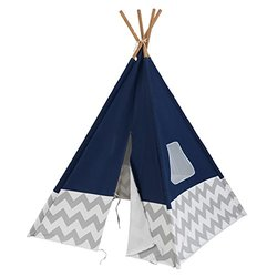 KidKraft Deluxe Bamboo with Soft Cotton Canvas Teepe Toy - Navy/Gray
