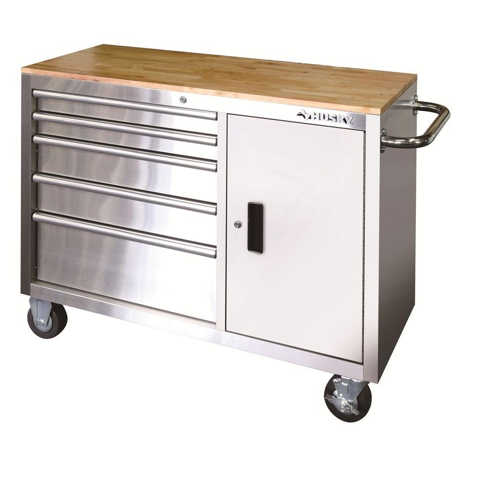 husky 46 5 drawer and 1 door stainless steel mobile workbench - Stainless Steel Work Bench