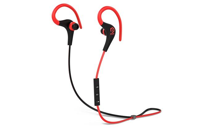 88e079271ac ... POM Gear P2G-SP1-RBK Basik Sport Secure Fit Bluetooth Earphones Red/ Black ...