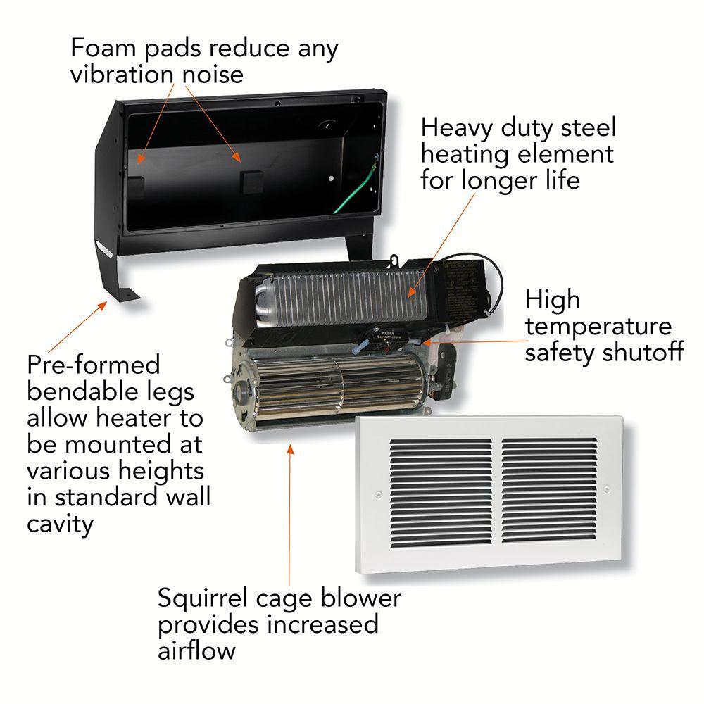 Cadet Register Multi Watt 120 Volt In Wall Fan Forced Heater White Baseboard Wiring Diagram Volts