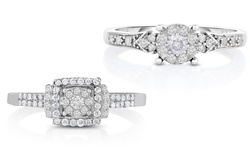 Beauty Gem 1/3 CTTW Sterling Silver Diamond Ring - Size: 5