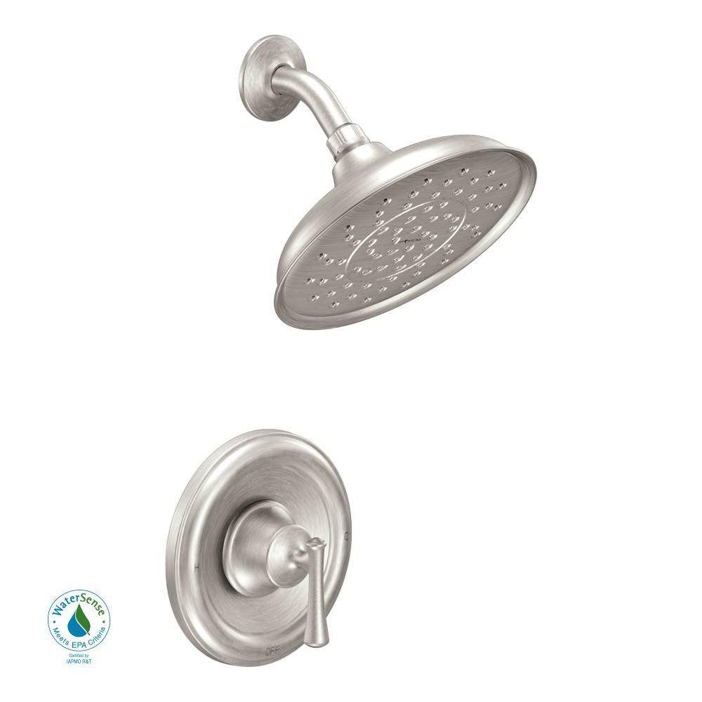 Moen Ashville 1 Handle 1 Spray Shower Faucet Spot Resist Brushed