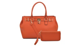 Deluxity Portia Satchel Handbag & Wallet Set - Orange