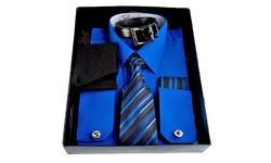 Berlioni Men's Dress Shirt Set - Navy - Size: Medium
