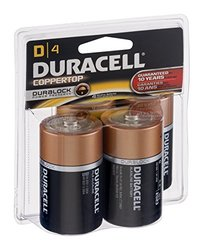 Duracell Coppertop Alkaline Batteries - Pack of 4 - Size: D