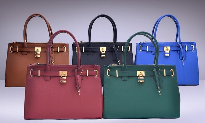 Dasein Paris Double Zipper Handbag Coffee