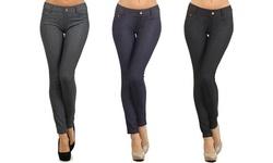 Women's 3-Pack Slimming Jeggings - Grey/Navy/Black - Size: S/M