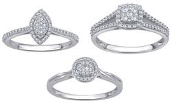 Kiran Jewels 1/10 CTTW Diamond Round Cluster Ring - Size: 8