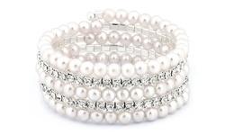 Swarovski Elements Multi-row Stretch Bracelet: Crystal And Faux Pearl