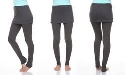 White Mark Women's Skirtted Leggings - Charcoal - Size: Medium