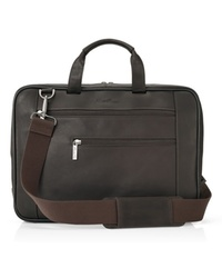 Kenneth Cole Leather Front-Zip Portfolio Case - Brown