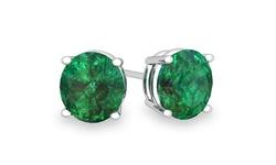 Yedid Women's 2-Ct 2.00 CTW Sterling Silver Emerald Stud Earrings - Green