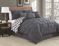 7-Piece Comforter Set: King/Ella-Charcoal