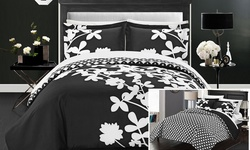 3 Pc Amaryllis Duvet Set: Queen/black