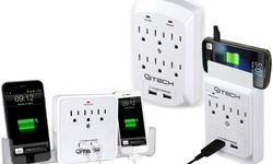 Cj Tech: 3 Outlet Wall Tap 300j With 2 USB And 2 Smart Phone Cradles-2 Pack