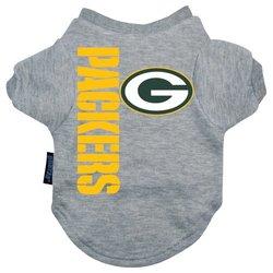 Hunter Green Bay Packers Dog Tee Shirt Gray - Medium