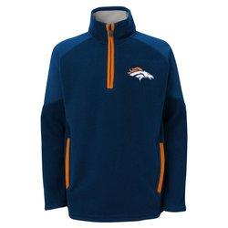 """Denver Broncos Youth NFL """"Evasive"""" 1/4 Zip Fleece Sweatshirt - Large"""