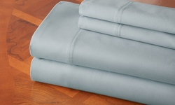 Hotel New York 100 % Cotton Sateen Sheet Set - Light Blue - Size: Full