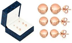 Sevil 14K Rose Gold Ball Stud Earrings Set - 3-Piece