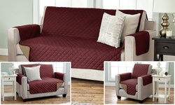 Home Fashions Slipcover Set Reversible 2PK - Burgundy/Taupe - Size: Sofa