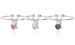 SGS Heart Lock & Key Charm Cuff Bracelets - 18K WG Plated-Plated-Marcasite