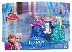 Mattel Disney Frozen Glitter Glider Anna, Elsa and Olaf Figurines
