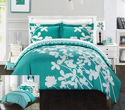 Chic Home 3 Piece Calla Lily Reversible Large Scale Floral Design Printed with Diamond Pattern Reverse Duvet Cover Set, King, Turquoise