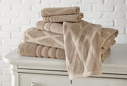 6 pc 100% Cotton towel set Diamond jacquard Taupe