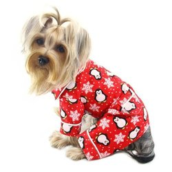 Adorable Penguins & Snowflake Flannel Pajamas (Red) - Large