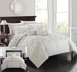 Chic Home 10 Piece Pinch Pleated Comforter Set - Beige - Size: Queen