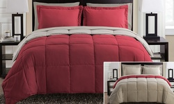 Lincoln Reversible Down Alt. Comforter - Red/Taupe - Size: Queen