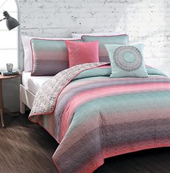 Cypress 5-piece Quilt Set-king Coral/blue
