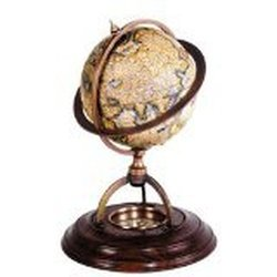 Terrestrial Globe with Compass Made of Wood&Brass - Brown