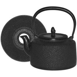 Black Hobnail Cast Iron Tea Kettle with Trivet - 50 Ounce