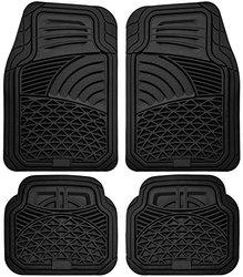OxGord Tactical Heavy Duty Rubber Floor Mats 4pc Set - Black