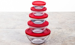 Glass Bowl Set: Red Tight Lids (10-piece)