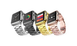 iPM 42mm Stainless Steel Watch Band w/ Plated Case for Apple Watch - Black