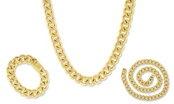 """Relex 18KT Gold Plated Cuban Chain Necklace - Size: 13mm-28"""""""