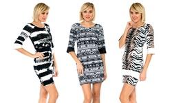 3/4 Sleeve Multi-print Dress: Black/white - Large
