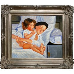 Tori Home Breakfast in Bed by Mary Cassatt Framed Original Painting