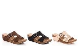 Lady Godiva Comfort Wedge Sandal - Black - Size: 10