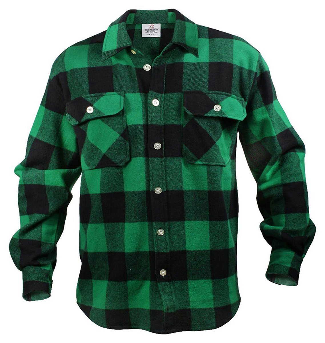 Rothco heavy weight plaid flannel shirt green plaid for Green and black plaid flannel shirt