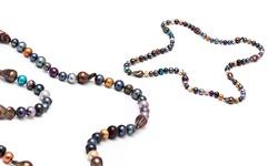 """Sevil Multicolored 36"""" Pearl Necklace Unique Shapes & Colors"""