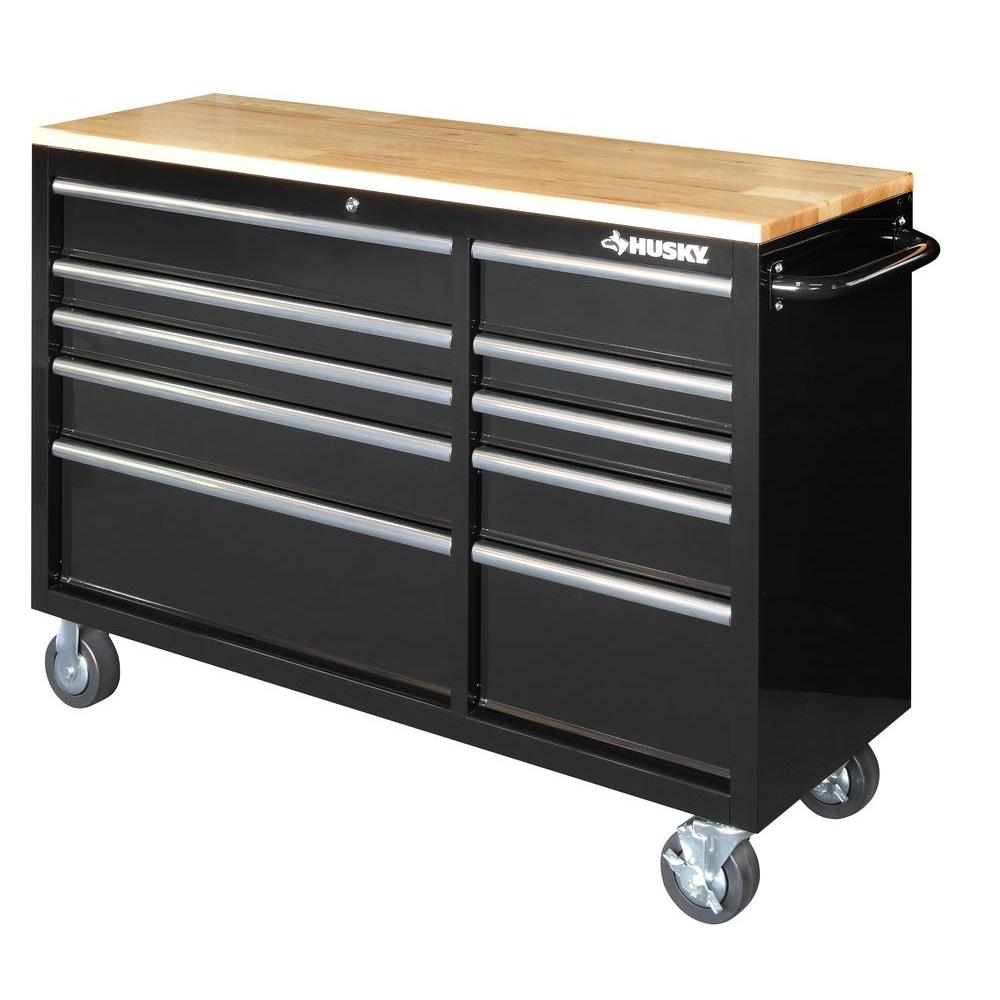 4f4543840dbc Husky 52 in. 10-Drawer Mobile Workbench with Solid Wood Top - Black ...