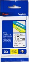 """Brother 0.47"""" x 26.2' TZe231 Black on White Tape for P-Touch 8m"""
