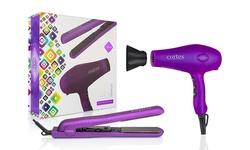 "Cortex Gemstone Duo Gift Set - 1.25"" Ceramic Flat Iron & Tourmaline Dryer"