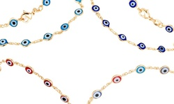 Sevil 18k Gold Plated Evil Eye Anklet - Gold & Multi Color