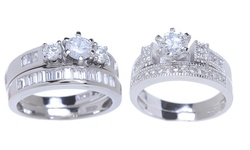 Sterling Silver 18K White Gold-Plated CZ Ring Set - Tri-Stone - Size: 9