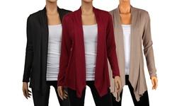 Women's Draped Hacci Cardigans - Multi - Size: Large (3-Pack)